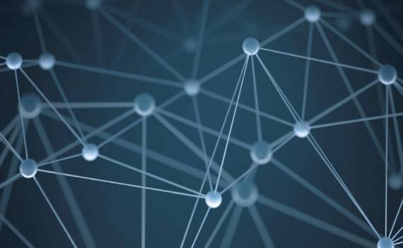 Abstract background with points and interlinked connections in a network concept.